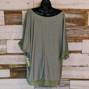 Perseption Tops - Green Lace trimmed Top sz 3X NWT